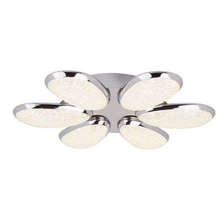 Lori 6 Light LED Ceiling Flush Crushed Ice Effect