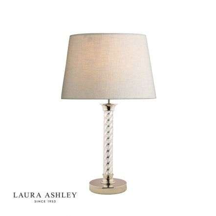 Louis Twisted Glass Polished Nickel Column Table Lamp Base