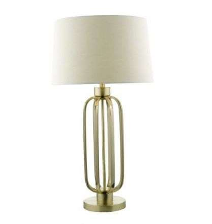 Lucie Table Lamp Satin Brass Complete With Shade