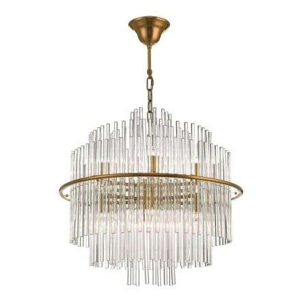 Lukas 13 Light Pendant Brushed Antique Gold & Clear Glass