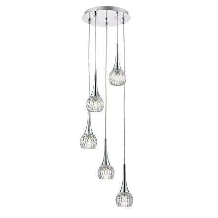 Lyall 5 Light Spiral Polished Chrome & Decorative Glass
