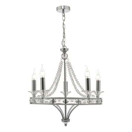 Mabry 5lt Chandelier Polished Chrome & Crystal