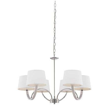 Macy 6 Light Pendant in Polished Chrome C/W White Shades