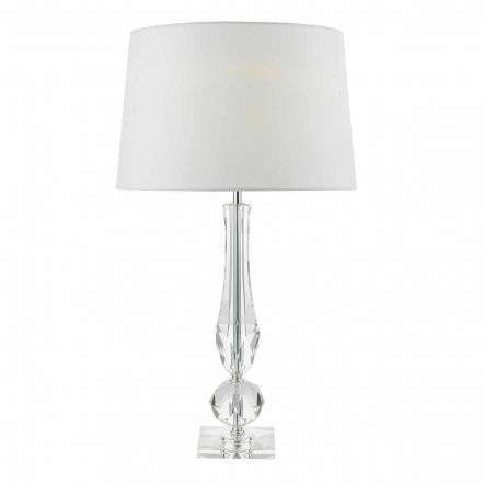 Macy Table Lamp Cut Crystal Base C/W White Faux Silk Lined Shade