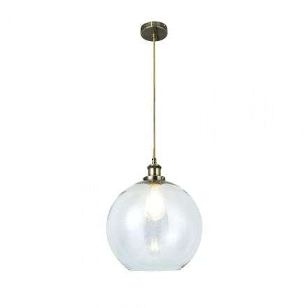 Magnalux LEW01ABM Lewis Medium Glass Ball Pendant Antique Brass