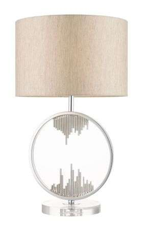 Manhatten Polished Chrome and Crystal Table Lamp c/w Shade