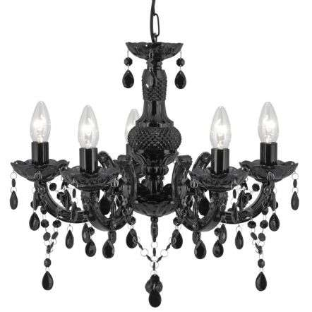 Marie Therese Black 5 Light Chandelier With Acrylic Glass Drops | Online Lighting Shop