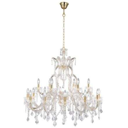 Marie Therese Brass 18 Light Chandelier With Crystal Drops  | Online Ligthing Shop