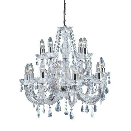 Marie Therese Chrome 12 Light Chandelier With Crystal Drops