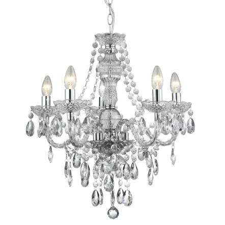Marie Therese Clear 5 Light Chandelier With Crystal Drops
