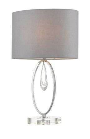 Markle Polished Chrome and Crystal Table Lamp c/w Oval Shade