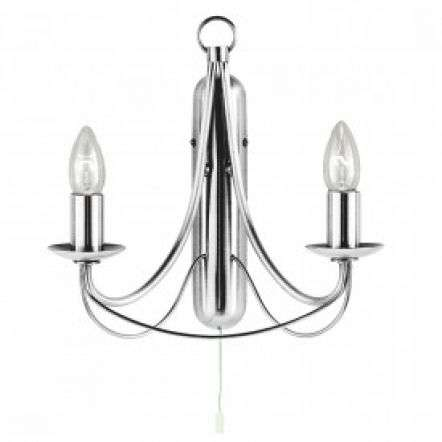 Maypole Satin Silver 2 Light Wall Bracket Birdcage Design