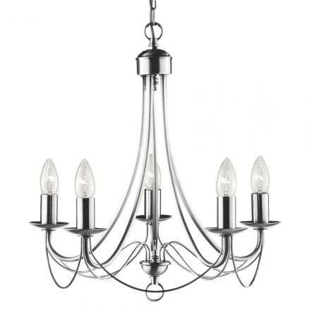 Maypole Satin Silver 5 Light Multi-arm Fitting Birdcage Design