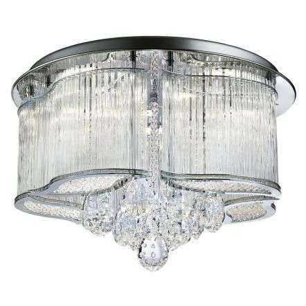 Mela Led Chrome Ceiling Light With Crystal Drops