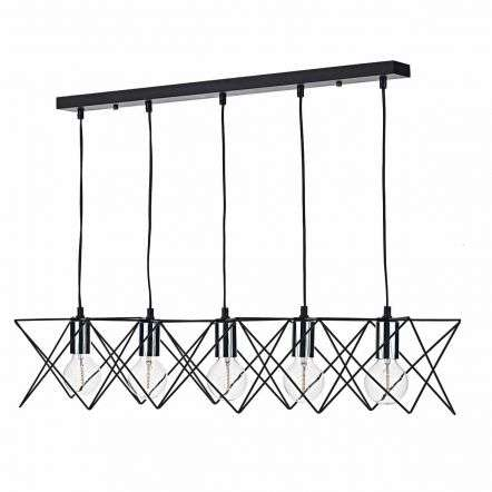 Midi 5lt Bar Pendant Black & Polished Chrome