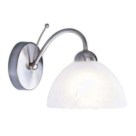 Milanese 1 Light Satin Silver Wall Bracket Complete W Ith Alabaster Glass