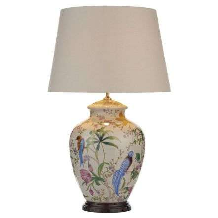 Mimosa Table Lamp White Floral Bird Base Only