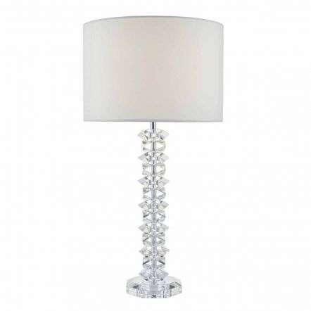 Mina Table Lamp Polished Chrome & Crystal C/W Cream Cotton Shade