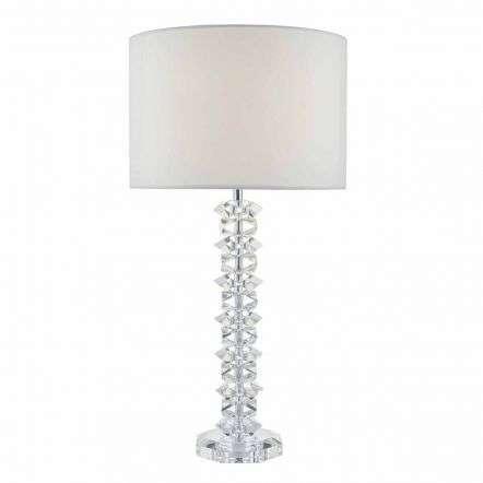 Mina Table Lamp Polished Chrome & Crystal C/W Cream Cotton Shade