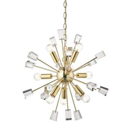 Miro 9 Light Pendant in Satin Brass & Clear Crystal Glass