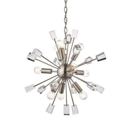 Miro 9 Light Pendant in Satin Nickel & Clear Crystal Glass