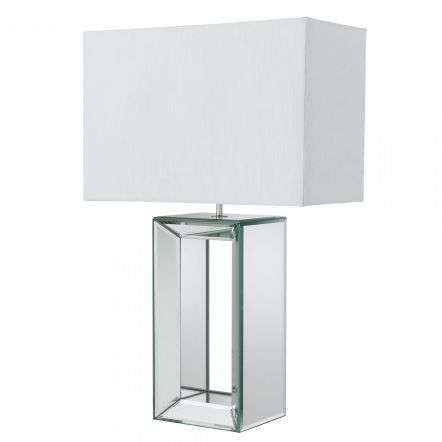 Mirror Reflection Table Lamp With Oblong Faux Silk White Shade