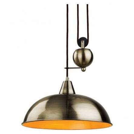Modern Antique Brass Dome Shade Ceiling Pendant Light