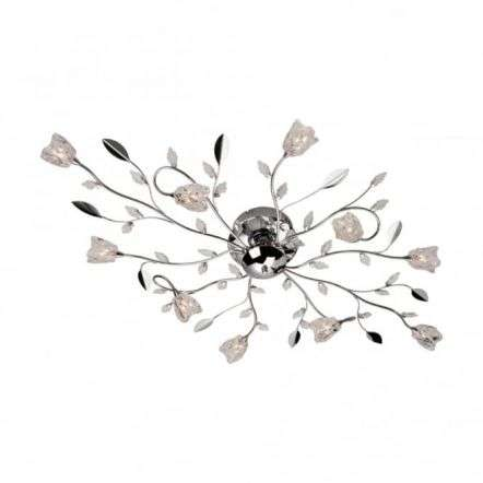 Modern Art Deco Chrome Flush Ceiling Light