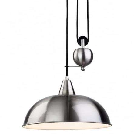 Modern Brushed Steel Dome Shade Ceiling Pendant Light