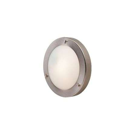 Modern Brushed Steel Opal Glass Flush Wall Light