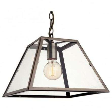 Modern Industrial Antique Brass Open Glass Box Pendant