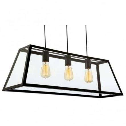 Modern Industrial Black Open Large Glass Box Pendant