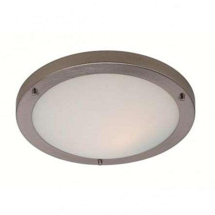 Modern Minimalist Brushed Steel Flush Ceiling Light