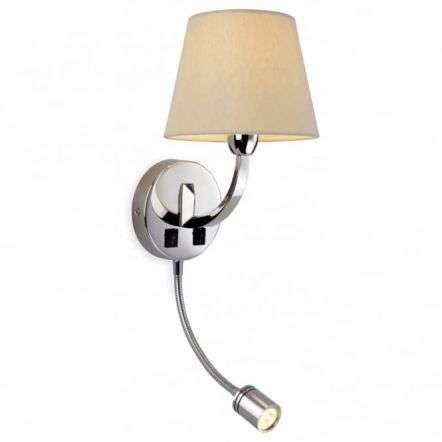 Modern Polished Steel Candle Cream Wall Light