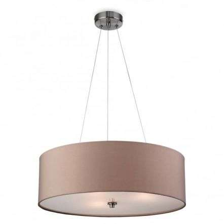 Modern Taupe Drum Shade Suspended Ceiling Light Fitting