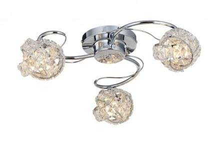Monaco 3 Light Polished Chrome c/w Knotted Crystal Shade