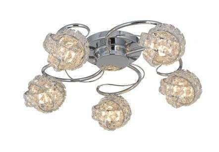 Monaco 5 Light Polished Chrome c/w Knotted Crystal Shade