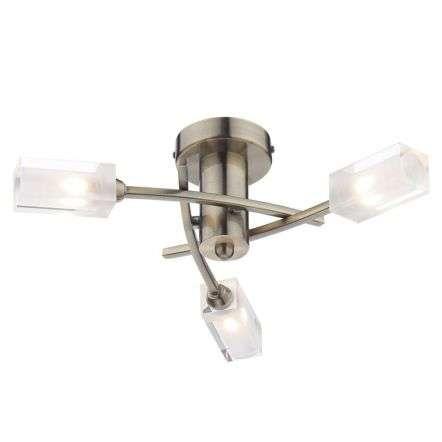 Morgan 3 Light Semi Flush Antique Brass | Online Lighting Shop