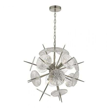 Nabila 6 Light Pendant Satin Nickel & Glass