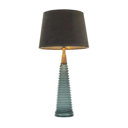 Naia Teal Ribbed Glass Table Lamp C/W Velvet Shade