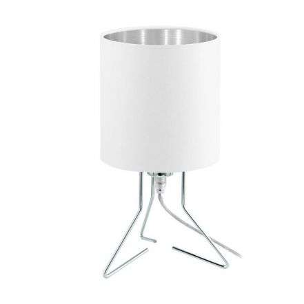 Nambia Table Lamp in Chrome C/W White & Silver Shade