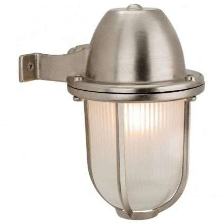 Nautic Nickel Outdoor Down right Wall Light