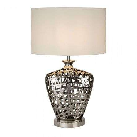 Network Large Table Lamp Chrome Cut Out Decorative Base