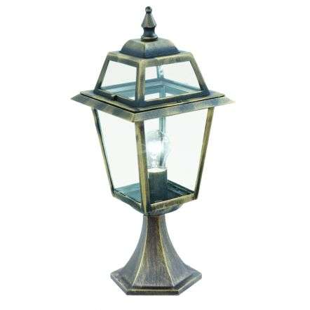 New Orleans Ip44 Black & Gold Post Lamp With Clear Glass