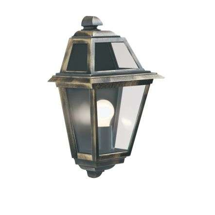 New Orleans Ip44 Black & Gold Wall Light With Clear Glass