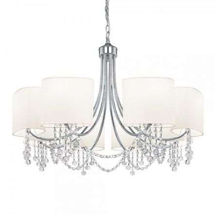 Nina 8 Light Chrome Chandelier - Clear Glass- Buttons & White Shades