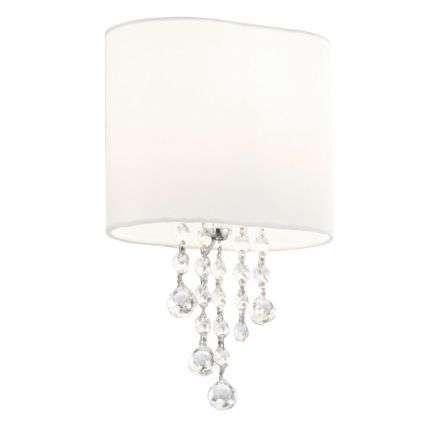 Nina  Chrome/Clear Beads 1 Light Wall Bracket - White Shade