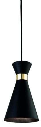 Ohio Single Pendant in Black with Brass