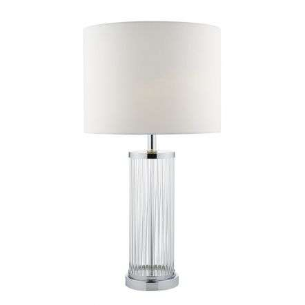 Olalla TL Polished Chrome And Clear Glass Complete With Ivory Shade