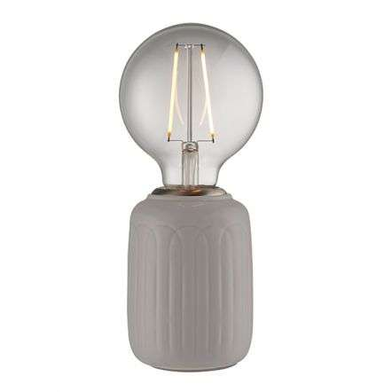 Olivia Table Lamp in Satin Nickel Finish with Taupe Gloss